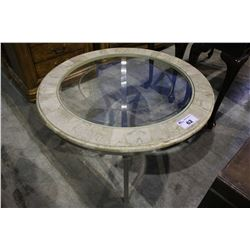 ROUND GLASSTOP COFFEE TABLE