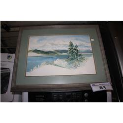 FRAMED ARTWORK SIGNED HATTFIELD - LAKE VIEW
