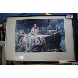 FRAMED PRINT SIGNED WATERHOUSE - VICTORIAN POND SCENE