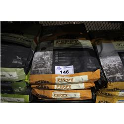 FOUR 25LB BAGS OF ACANA HERITAGE LARGE BREED PUPPY FOOD (WITH FREE-RUN CHICKEN, WILD FLOUNDER AND