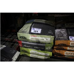 FOUR ASSORTED BAGS OF ACANA DOG FOOD (YORKSHIRE PORK, REGIONALS GRASSLANDS AND SENIOR)