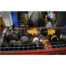 "SHELF LOT OF TOOLS INCLUDING SKILSAW 71/4"" CIRCULAR SAW, RIDGID AND BOSTITCH NAILERS AND MORE"