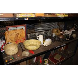 SHELF LOT OF COLLECTABLES INCLUDING DECOR, ANTIQUES, CLOCK AND MORE