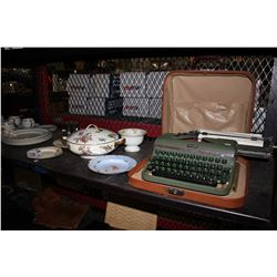 SHELF LOT INCLUDING HALDA TYPE WRITER AND CHINA COLLECTION