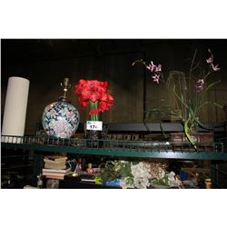 SHELF LOT INCLUDING FLORAL LAMP, ARTIFICIAL PLANT DECOR AND MORE