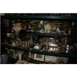 SHELF LOT INCLUDING SILVER PLATED COPPER DISHWARE, GLASSWARE AND MORE