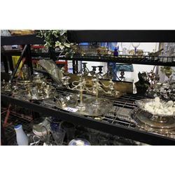 SHELF LOT INCLUDING CANDELABRAS, SILVER PLATED TRAYS AND CUPS, AND MORE