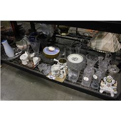 SHELF LOT OF ASSORTED GLASSWARE, CLOCK AND MORE