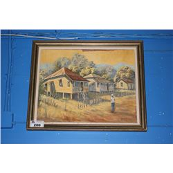 FRAMED OIL PAINTING SIGNED BIGGS - STILT HOUSE