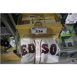 ASSORTED BASEBALL CARDS & RED SOX JERSEY