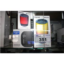 UE WONDERBOOM WIRELESS SPEAKER & 2 IHOME BLUETOOTH SPEAKERS
