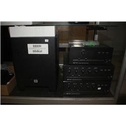 JBL SUBWOOFER, 2 TOA MIXER AMPLIFIERS & POWER AMPLIFIER