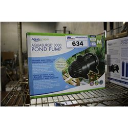 AQUASCAPE AQUASURGE 3000 SKIMMER AND PONDLESS WATERFALL VAULT PUMP