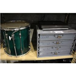 SHELF LOT INCLUDING FOUR DRAWER TOOL BOX, YAMAHA DRUM AND MORE
