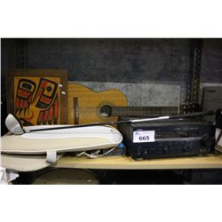 SHELF LOT INCLUDING YAMAHA RX-V559 NATURAL SOUND A/V RECEIVER, BLUETOOTH SPEAKER, GUITAR AND MORE