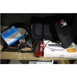SHELF LOT INCLUDING HOMEDICS MASSAGING CUSHION, SHIMANO HYDRAULIC DISC BRAKE AND MORE