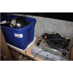 TOTE OF SPORTS EQUIPMENT, TURNTABLE AND TILL DRAWER