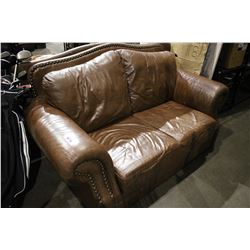 BROWN LEATHER LOVE SEAT AND SOFA SET