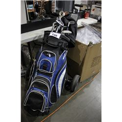 GOLF BAG WITH ASSORTED CLUBS AND HAND CART