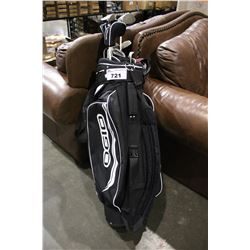 OGIO GOLF BAG WITH ASSORTED GOLF CLUBS