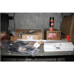 SHELF LOT INCLUDING BOX BLACK HIGH TEMPERATURE PAINT, AUTO PARTS AND MORE