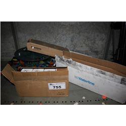 SHELF LOT INCLUDING SINGLE TOGGLE WALL PLATES, BASEBOARD HEATER, WATER HEATER PARTS AND CHRISTMAS