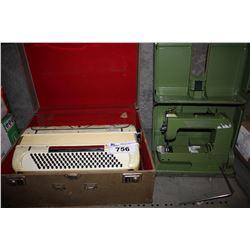 ELNA SEWING MACHINE AND SILVERTONE PIANO ACCORDION IN CASE