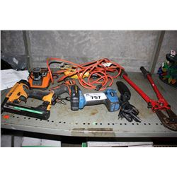 SHELF LOT OF RIDGID, BOSTITCH, AND MASTERCRAFT POWER TOOLS AND MORE