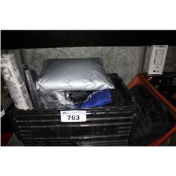BIN OF HOUSEHOLD GOODS INCLUDING ROLL OF PATTERNED ADHESIVE, CAR COVER, LIGHTING, BAG AND MORE