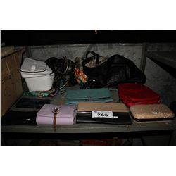 SHELF LOT OF DESIGNER PURSES, CLUTCHES AND BAGS