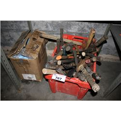 BOX OF COVERALLS AND BIN OF ASSORTED HAND TOOLS