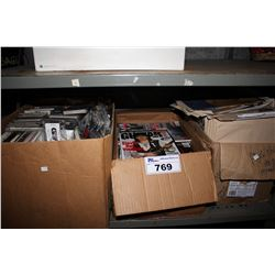 SHELF LOT INCLUDING BLUES CASSETTE TAPES, MAGAZINES AND NEWSPAPERS