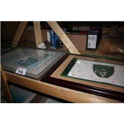 "TWO FRAMED PRINTS ""SLEEP"" AND ""MORNING CLOUD"", AND FRAMED VANCOUVER GOLF CLUB CENTENNIAL FLAG"