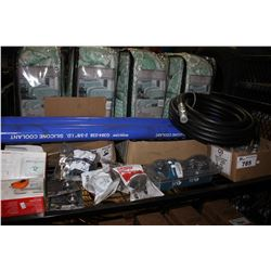 """SHELF LOT INCLUDING 3/4"""" COPPER CRIMP RINGS, ASSORTED PLUMING PARTS AND HONEYWELL THERMOSTAT"""