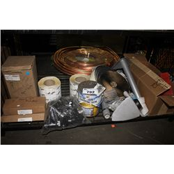 SHELF LOT INCLUDING PAINT, SANDPAPER, STORAGE CONTAINERS AND MORE