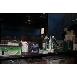 SHELF LOT INCLUDING PAINT, DESCALER, AQUARIUM HEATER, CO2 CONTROLLER, CANNAZYM FORMULA AND MORE