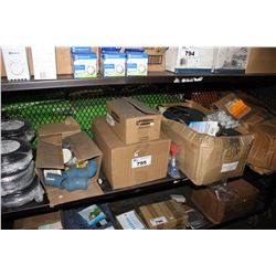 SHELF LOT INCLUDING MINI SPLIT CABLE, TWO BOXES OF RADIATOR HOSE AND MORE