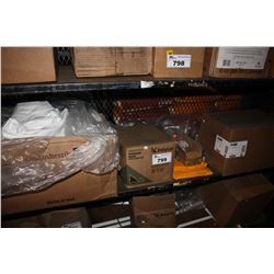 SHELF LOT INCLUDING BOX OF FLAT SHEETS, BOX OF GARBAGE BAGS, WET MOP HEADS, FOOT FILES AND MORE