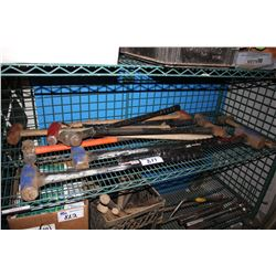 SHELF LOT OF ASSORTED SLEDGE HAMMERS