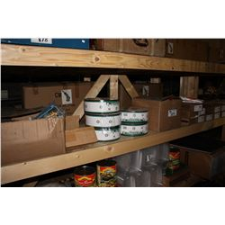 SHELF LOT INCLUDING FOAM BACK SANDPAPER, WHEELS, HEADBOLT SETS, MATTRESS BAGS AND MORE