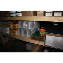SHELF LOT INCLUDING NACHO SLICED JALAPENOS, FOOD CONTAINERS, FOAM BACK BOARD, AND MORE