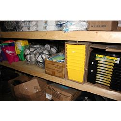 SHELF LOT INCLUDING PAINT TRAYS, BADMINTON RACKET SETS, SOCCER PINATAS, SAND PAILS AND MORE