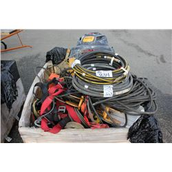 BIN OF ASSORTED FALL ARREST GEAR, HOSE & SHOP VACUUM
