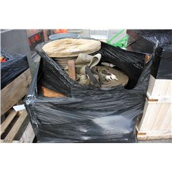 PALLET OF BRAIDED STEEL CABLE, STRAPS & MORE