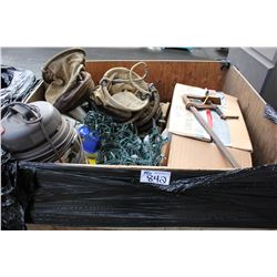BIN OF STEEL LIFTING CABLE, ROPE BAGS & MORE