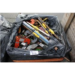BIN OF ASSORTED BEAM CLAMPS, HAND TOOLS & MORE