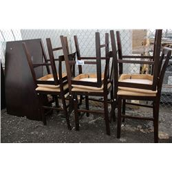 DARK WOOD DINING TABLE WITH 6 CHAIRS