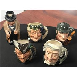 FIVE ROYAL DOULTON MINIATURE TOBY MUGS