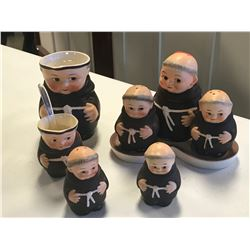 8 PC. GOEBELS MONK FIGURINE TEA SERVICE COLLECTION
