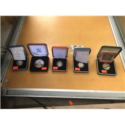 SILVER PROOF BRITISH COMMEMORATIVE COIN COLLECTION ( 5 CASED COINS)